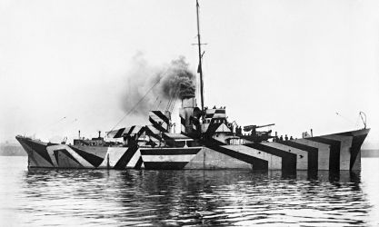 HMS Kildwick in dazzle camouflage